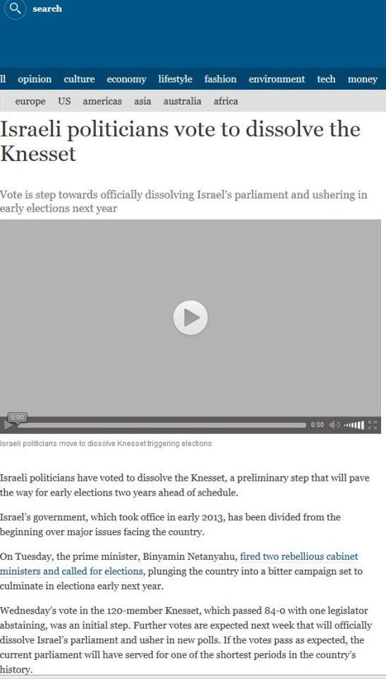 knesset dissolve